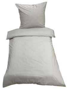2tlg Bettwäsche 135x200 Grau Uni Decke Kissen Bezug Set mit Reißverschluss