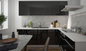 Küchenzeile 230x210cm L-Form 8-tlg. grau / schwarz Hochglanz Einbauküche Küchenblock Komplett Küche
