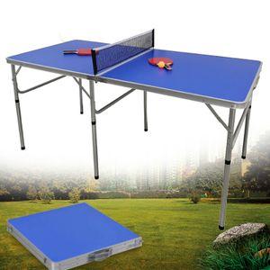 Tischtennisplatte Outdoor Mini Tischtennistisch Klappbar Freizeittisch 152x76x76cm Tischtennisnetz Schlägern Tischtennis für Wohnung Garten