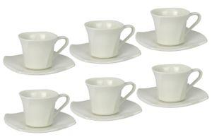 Retsch Arzberg Emotion Espresso-Set für 2-6 Personen aus Porzellan, weiß (6 Personen)
