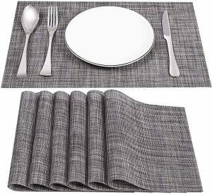 45X30cm 4Er Set PVC-Tischsets Abwaschbar Platzsets Hitzebeständig Abgrifffeste Rutsch Fleckenresistente Hanfgrau
