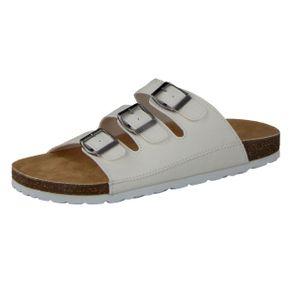 CAMPRELLA Herren Tieffußbett Pantolette Sandalen 3-Schnaller, Weiß, Größe:43, Farbe:Weiß