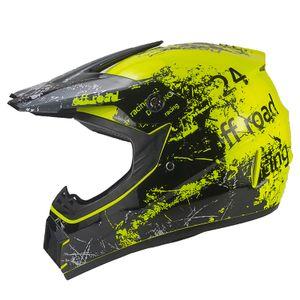 Racing Crosshelm für Kinder gelb Motocrosshelm Helm Kinderhelm Endurohelm XS