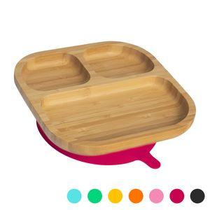 Tiny Dining Kinder Bambus Teller mit Aufenthalt Put Saug - Segmented - Rot