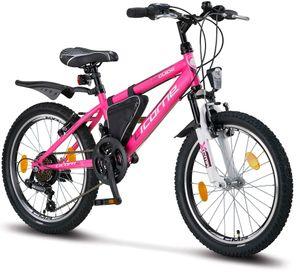 Licorne Bike Guide Premium Mountainbike in 20, 24 und 26 Zoll - Fahrrad für Mädchen, Jungen, Herren und Damen - Shimano 21 Gang-Schaltung, Kinderfahrrad, Kinder, Farbe:Rosa/Weiß, Zoll:20
