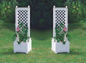 KHW Pflanzkasten mit Spalier 2er Set ; Farbe: Weiß ; Maße (LxBxH): 86 cm x 43 cm x 140 cm ; 37421