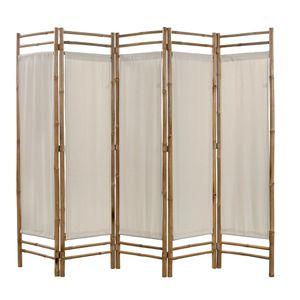 dereoir 5-teiliger Faltbarer Raumteiler Bambus und Leinwand 200 cm