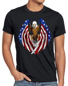 style3 USA Adler T-Shirt Herren US Amerika Stars Stripes Weisskopfadler, Größe:XXXL, Farbe:Schwarz