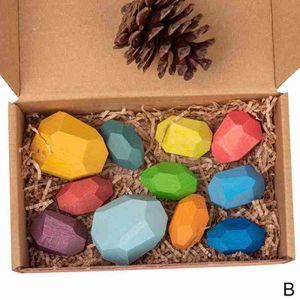 16 pcs Pädagogische Stacking Farbige Holz Kreative Ausgleich Blöcke Spielzeug