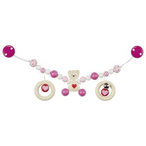 Heimess 736850 Kinderwagenkette Herzbär mit Clips, rosa (1 Stück)