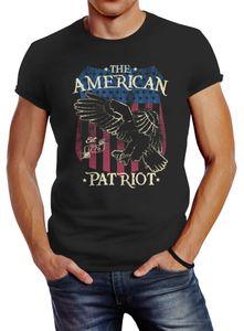 Herren T-Shirt Amerika Flagge Patriot Adler USA Slim Fit Vintage Neverless® anthrazit L