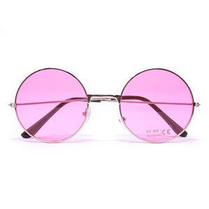 Oblique Unique Hippie Brille John Lennon Retro Sonnenbrille Herren Damen 60er 70er Jahre Party Fasching Karneval - rosa