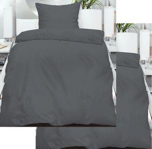 4-tlg. Seersucker Bettwäsche 2x 135x200 + 2x 80x80 cm, uni einfarbig, grau, Reissverschluß, bügelfrei, Microfaser