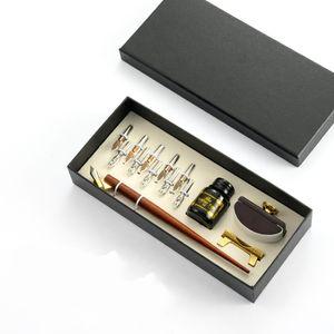Kalligraphie Set aus Holz mit Halter, Tinte Flaschen & Kalligraphie Feder Spitzen Kalligraphie Federhalter
