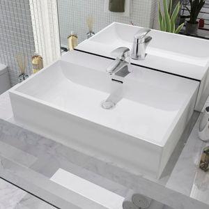 Waschbecken Waschtrog Ausgussbecken mit Hahnloch Keramik Weiß 60,5 x 42,5 x 14,5 cm