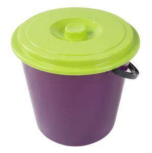 Eimer mit Deckel 10L Wassereimer Putzeimer Windeleimer Mülleimer Plastikeimer , Farbe:lila