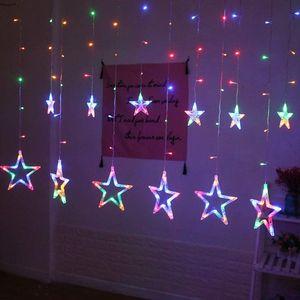 138 LED Stern Lichtervorhang Bunt Lichterkette 8 Lichtmodi Party Weihnachten Innen Deko
