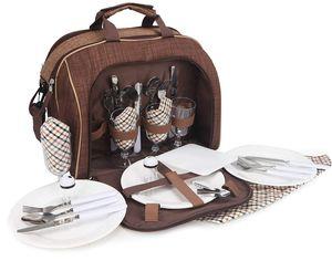 BRUBAKER Picknicktasche für 4 Personen Duffelbag Schultertasche mit Kühlfach Braun 38 × 21,5 × 30 cm