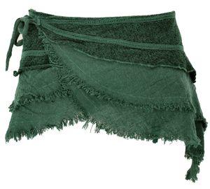 Goa Cacheur in Natürlichem Look, Minirock, Wickelrock Gürtel - Dunkelgrün, Damen, Baumwolle, Größe: S