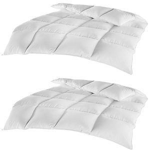 2er Pack Federn Daunen Kassettenbett Comfort 135 x 200 cm - Bettdecke mit 85% Federn 15% Daunen - Halbdaune Steppdecke mit hautsympathischem Bezug aus 100% Baumwolle - 100