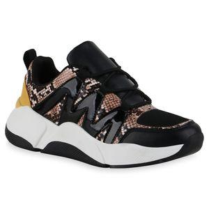 Giralin Damen Plateau Sneaker Keilabsatz Schnürer Prints Schuhe 836242, Farbe: Schwarz Braun Dark Yellow Snake, Größe: 37