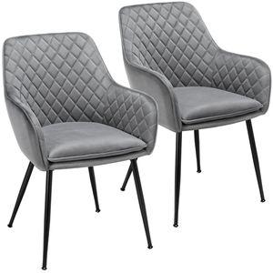 Yaheetech 2er Set Esszimmerstuhl Wohnzimmerstuhl Küchenstuhl Polsterstuhl Sessel mit Armlehne Sitzfläche aus Samt Metallbeine Grau Belastbarkeit 120 kg
