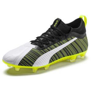 PUMA ONE 5.2 FG/AG Herren Low Boot Fußballschuhe Weiss-Schwarz-Gelb Schuhe, Größe:39