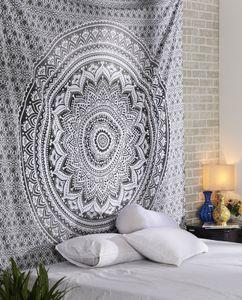 Indische Mandala Wandbehang Hippie Tapisserie Wanddekoration für Kinderzimmer Wohnzimmer Auch als Yogamatte Picknickdecke, Grau
