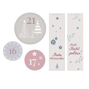 28 Teile Zubehör für DIY Adventskalender, 24 Adventskalenderzahlen Aufkleber, 4 Weihnachtsanhänger für Weihnachtskalender zum Befüllen