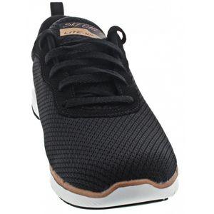 Skechers Flex Appeal Damen Low Sneaker Schwarz Schuhe, Größe:39