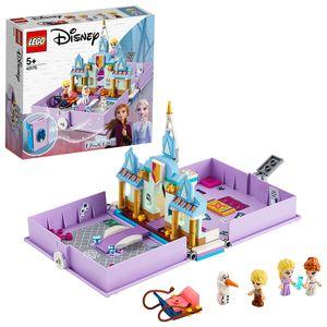 LEGO 43175 Disney Princess Annas und Elsas Märchenbuch Spielzeug aus Frozen 2, Eiskönigin Schloss mit Figur von Olaf und Mini-Puppen der Prinzessinnen