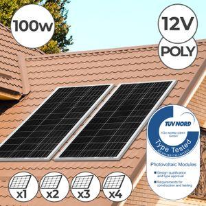 Solarpanel Polykristalline - 100 W, 18 V für 12 V Batterien, Photovoltaik, Ladekabel, 1er Set - Solarzelle, Solaranlage für Wohnwagen, Camping, Balkon, Gartenhäuser