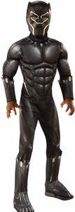 Black Panther Kostüm | Größe: M (110-116) | 2-teiliges Set: gepolsterter Overall mit Stiefeloberteilen & Maske |