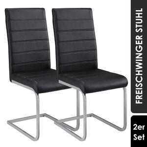Juskys Freischwinger Stuhl Vegas 2er Set | Kunstleder Bezug + Metall Gestell | 120 kg belastbar | schwarz | Esszimmerstühle Schwingstühle