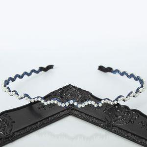 Designer Haarreif mit Perlen Haarschmuck Boho Haarreif Blau