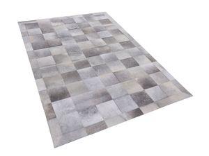 Teppich Grau 140 x 200 cm aus Leder Kurzhaarteppich Patchwork Elegant Klassisch
