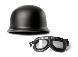 Halbschalenhelm Chopperhelm Brain Cap CMX German Easy Rider schwarz mit Bikerbrille : XL