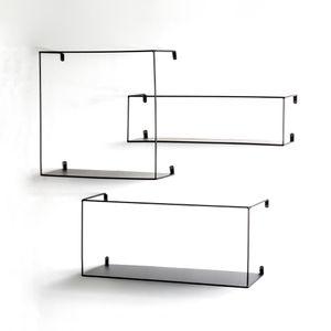 Haku Wandregal 3er Set, schwarz - Maße: 40/50/55 cm x 18/16/20 cm x 40/15/25 cm; 23518