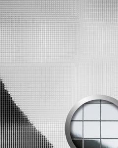Wandverkleidung Nachbildungpaneel WallFace 10639 M-Style Design Paneel Metall Mosaik Fliesen selbstklebend spiegelnd silber 0,96 qm