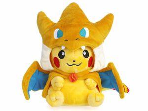 Pokemon Pikachu Plüschtier mit Mega Glurak Y Umhang | Pikazard Kuscheltier | 23cm