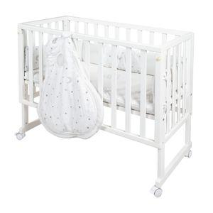 safe asleep® von roba Stubenbett 3 in 1  Sternenzauber Beistellbett weiß, Babybett & Kinderbank aus Holz inkl. kompletter Ausstattung & Schlafsack