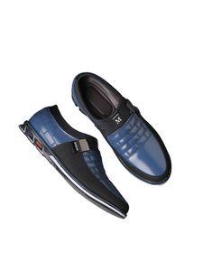 ydance Herren Leder Slipper Mode Freizeitschuhe Flache Businessschuhe Lederschuhe,Farbe: Blau,Größe:47