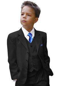 Paul Malone Kinderanzug Festlicher Anzug für Jungs 6tlg Slim Fit Kommunion, Konfirmation, Hochzeit schwarz KA20 Gr. 152