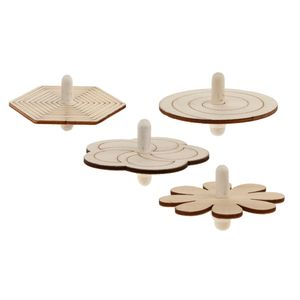 3x4pcs Verschiedene Unfertige Holzwirbelkreisel Kreisel Für Kinder DIY Handwerk