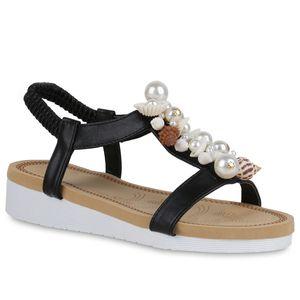 Mytrendshoe Damen Sandaletten Keilsandaletten Zierperlen Schuhe Profilsohle 834672, Farbe: Schwarz, Größe: 39