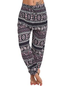 Lässige Lose Baggy Hareem Leggings für Frauen Haremshose Hippie Boho Yogahose,Farbe:Rosa,Größe:M