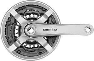 Shimano FC-TY501 Kurbelgarnitur 6/7/8-fach 42-34-24 Zähne mit Kettenschutzring silber Kurbelarmlänge 175mm