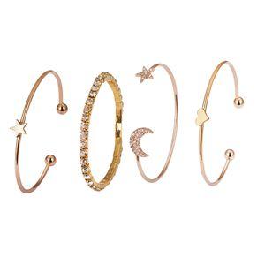 4Pcs Fashion offenen Schmuckarmband stapelbar Armband Armkette Armreif Set Stern Mond, Gold Farbe