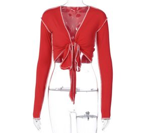 Damen Blusentops y Schleife V-Ausschnitt Langarm T-Shirt Einfarbig Tops Rot, Größe:L