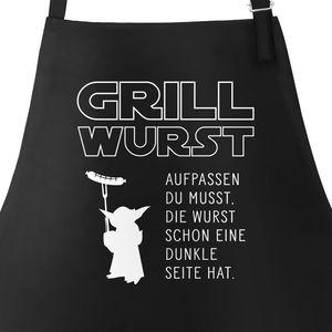Grill-Schürze für Männer mit Spruch Grill Wurst Aufpassen du musst, die Wurst schon eine dunkle Seite hat Küchenschürze Moonworks® schwarz unisize